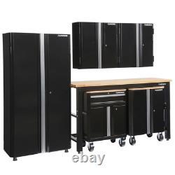 108 In. W X 98 In. H X 24 In. D Steel Garage Cabinet Set In Black (6-Piece)