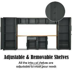 10Pcs Garage Storage Cabinet Set with Workbench Steel Frame Bamboo Worktop US