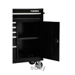 10-Drawer 1-Door Combination Tool Chest and Rolling Cabinet Set in Gloss Black