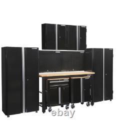 145 In. W X 98 In. H X 24 In. D Steel Garage Cabinet Set In Black (8-Piece)