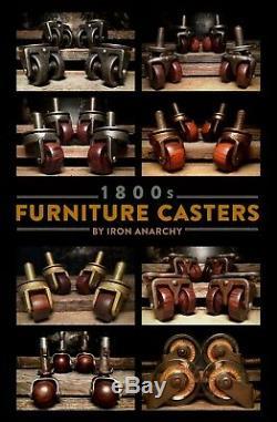 1800s GLASS TABLE CASTERS Antique Vtg Old Cabinet Furniture Metal Stem Wheel Set