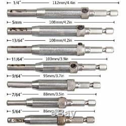 20XSelf Centering Drill Bit Set(15Pcs) Cabinet Door Hinge Drill Bit 1/4inc B9X0