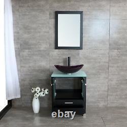 24inch Modern Bathroom Vanity Cabinet Scalloped Glass Vessel Sink withMirror Set