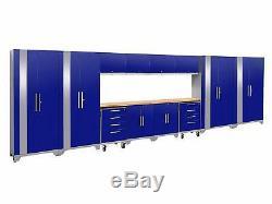 2.0 Blue 14 Piece Set, Garage Cabinets, Stainless Steel