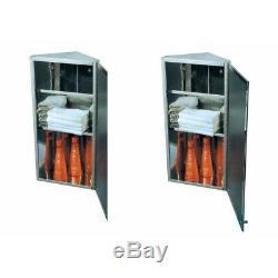 2 Corner Medicine Cabinet Polished Stainless Steel Mirror Door Set of 2