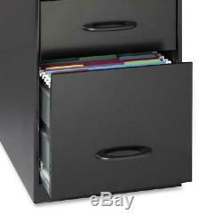 2-Drawers Black Vertical Steel Filing Cabinet Office Workstation Furniture Set