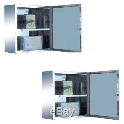 2 Mini Stainless Steel Medicine Cabinet Wall Mount Storage Set of 2