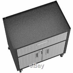 2 Piece Set 2 Door 1 Drawer Rolling Steel Cabinet Garage Storage in Black/Gray
