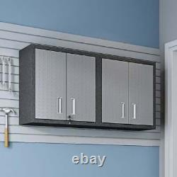 30-in. Grey Metal Cabinets With Adjustable Floating Shelves (Set Of 2)
