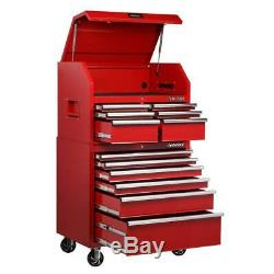 36 In. W 12-Drawer, Deep Combination Tool Chest And Cabinet Set In Gloss Red