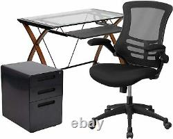 3 Piece Office Set Glass Desk with, Office Chair and Filing Cabinet New