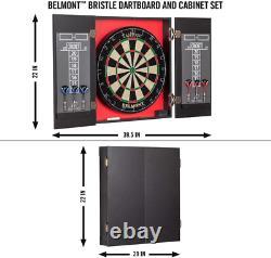 40 Dartboard Cabinet Dart Board Set 6 Steel Tip Darts Chalk Wall Mounted NEW