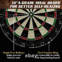 40 Dartboard Cabinet & Dart Board Set LED Lights 6 Steel Tip Darts & Flights