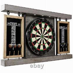 40 Dartboard Cabinet & Dart Board Set LED Lights 6 Steel Tip Darts Game Room