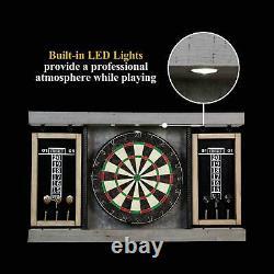 40 Dartboard Cabinet & Dart Board Set LED Lights 6 Steel Tip Darts and Flights
