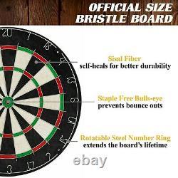40 Dartboard Cabinet Set LED Lights Steel Tip Bulls Eye Darts Game Brown Black