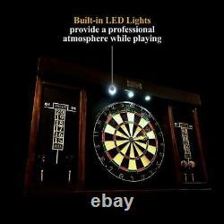 40 Dartboard Cabinet Set, LED Lights, Steel Tip Darts, Brown