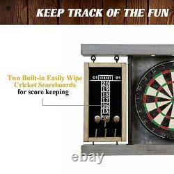 40 Dartboard Cabinet Set, LED Lights, Steel Tip Pine Wood, Indoor Sports Gaming
