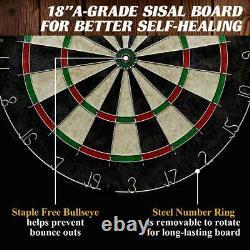 40 Dartboard Cabinet Set, Steel Tip Darts, Gray, Fun, Game Room