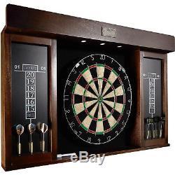 40 Inch Dartboard Cabinet LED Light 5 Steel Tip Darts Dart Board Set Wall Game