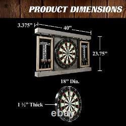 40 Inch Dartboard Cabinet Set Built In LED Lights Steel Tip Darts Gray
