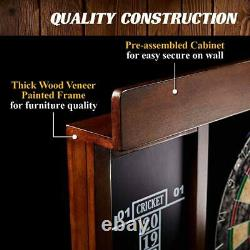 40 Inch Dartboard Cabinet Set LED Lights Steel Tip Darts Home Sports Fun Game