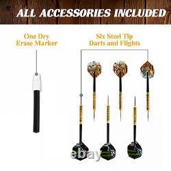 40 Inch Prescott Collection Dartboard Cabinet Set LED Lights Steel Tip Darts