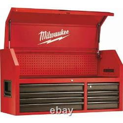 46 In. 16-Drawer Steel Tool Chest And Rolling Cabinet Set, Textured Red/Black
