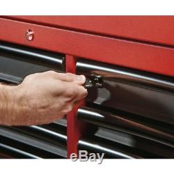 46 in. 16-Drawer Steel Tool Chest and Rolling Cabinet Set, Textured Red