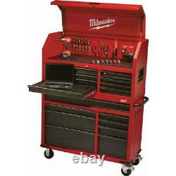 46 in. 16-Drawer Steel Tool Chest and Rolling Cabinet Set, Textured Red and