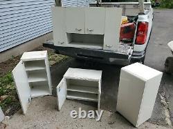 (4)Vintage steel metal Kitchen Cabinets upper wall set