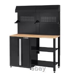 53 In. W X 69 In. H X 19 In. D Steel Garage Cabinet Set In Black (6-Piece)