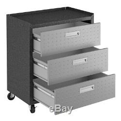 6-Piece Fortress Textured Garage Set with Cabinets, Wall Units & Table in Grey