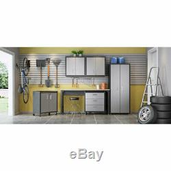 6-Piece Fortress Textured Garage Set with Cabinets, Wall Units and Table in Grey