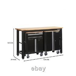 72 In. W X 42 In. H X 24 In. D Steel Garage Cabinet Set In Black (3-Piece)