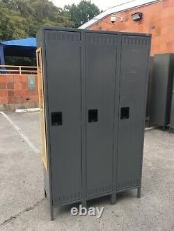78 Tennsco 18 depth Steel Locker 3 Door Set 46 Gray Storage Cabinet lockers