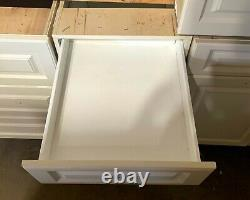 7 Piece White Cabinet Set No Sink 5 Base & 2 Uppers 11 Drawers Ventura Brand