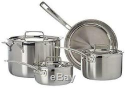 7 Piece set pots pans Stainless Steel skillet Cookware oven safe Silver Kitchen