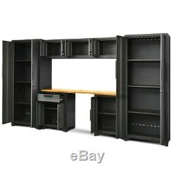 8Pcs Steel Garage Storage Cabinet Set 24 Gauge Rack Shelf with Bamboo Worktop New