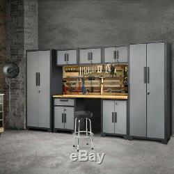 8Pcs Steel Garage Storage Cabinet Set 24 Gauge Rack Shelf with Bamboo Worktop US