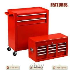 8-Drawer Steel Tool Chest And Rolling Cabinet Set Red Organizer With Wheels NEW
