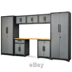 8 Pcs Bamboo Worktop 24 Gauge Garage Storage Cabinet Set TL35121+ WC