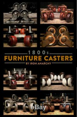 ATQ FURNITURE CASTER SET, Victorian Steel Metal Swivel Vtg Dresser Cabinet Wheel