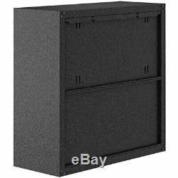 A Set of One Single 2-Door and One Double 2-Door Floating Garage Storage Cabinet