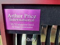 Arthur Price International 18/10 stainless steel 44 piece cutlery set in cabinet