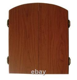 BRISTLE DARTBOARD CABINET SET Steel Tip Darts Scoreboard Brown Wood