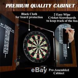 Barrington Premium Bristle Dartboard Cabinet Set with 6 Steel Tip Darts, High
