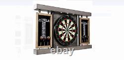 Barrington Prescott Collection 40 Dartboard Cabinet Set, Steel Tip Darts, Gray