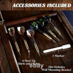 Barrington Webster Collection Sold Wood Dartboard Cabinet Set, Steel Tip Darts