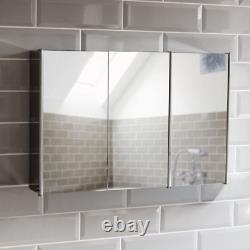 Bath Vida Tiano Bathroom Cabinet Triple Mirror Wall Mounted Stainless Steel